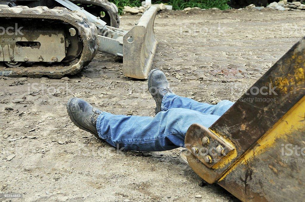 Lazy Excavator Operator royalty-free stock photo