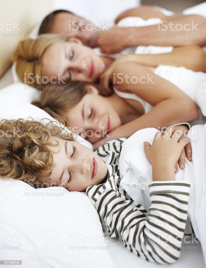 Lazy family morning royalty-free stock photo