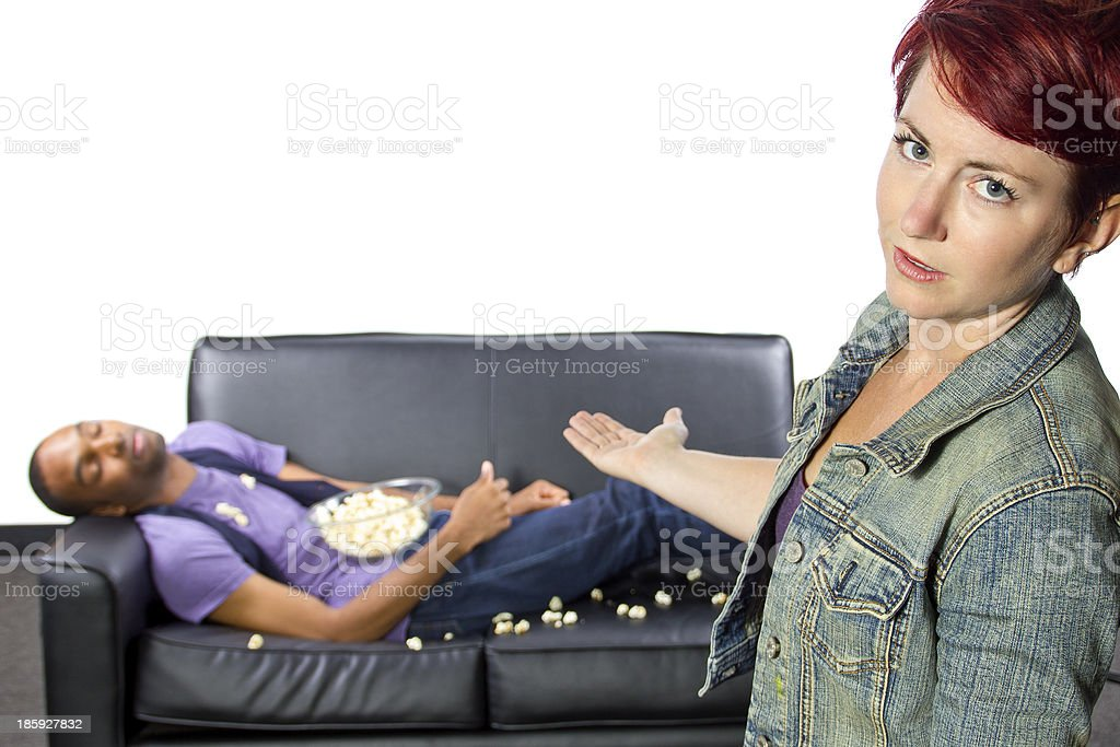 Lazy Male Roomate Making A Mess on the Couch stock photo