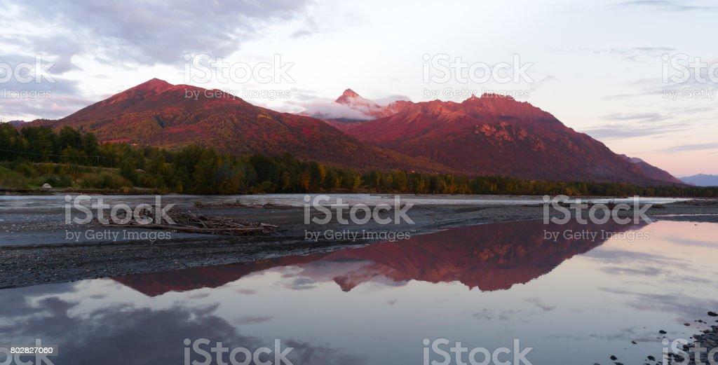 Lazy Mountain Matanuska-Susitna Borough Alaska United States Sunset stock photo