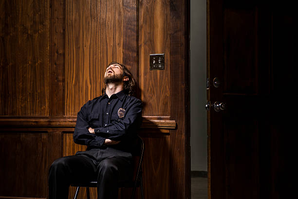 Lazy security officer by door – Foto