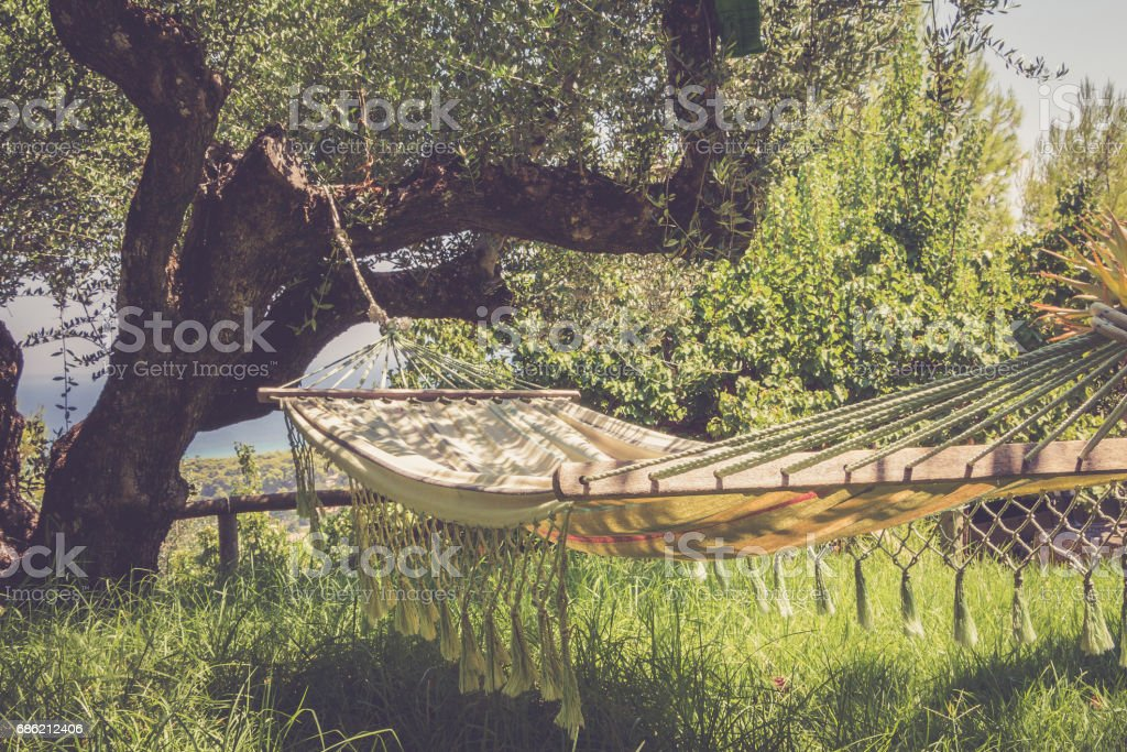 Lazy time with hammock in the summer garden, vintage toned stock photo