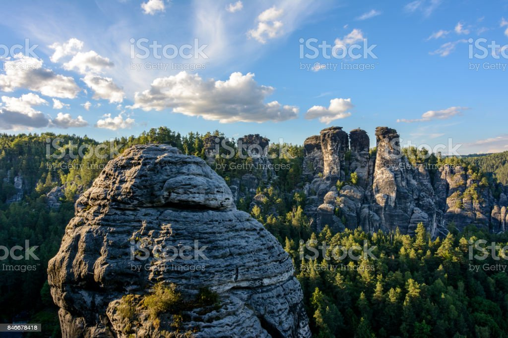 lbe Sandstone Mountains in Germany. Saxon Switzerland National Park in Saxony stock photo