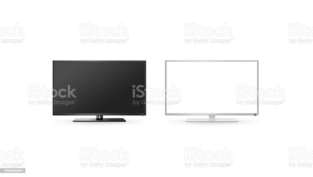 TV LCD-Flachbildschirm mock-up isoliert, schwarz / weiß set – Foto