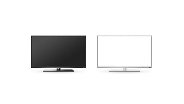 tv lcd flat screen mock up isolated, black and white set - flat screen stock photos and pictures