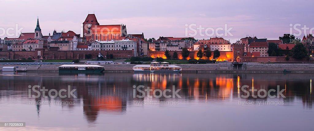 ld town of Torun (Poland) in the sunset stock photo