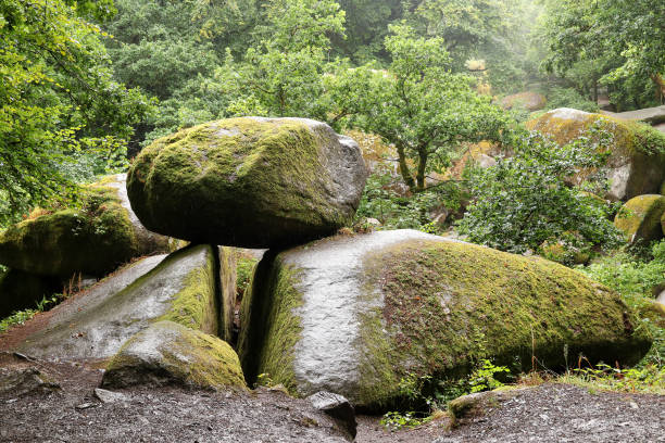 Le Chaos de Rochers or the Chaos of Rocks in Huelgoat forest, Brittany stock photo