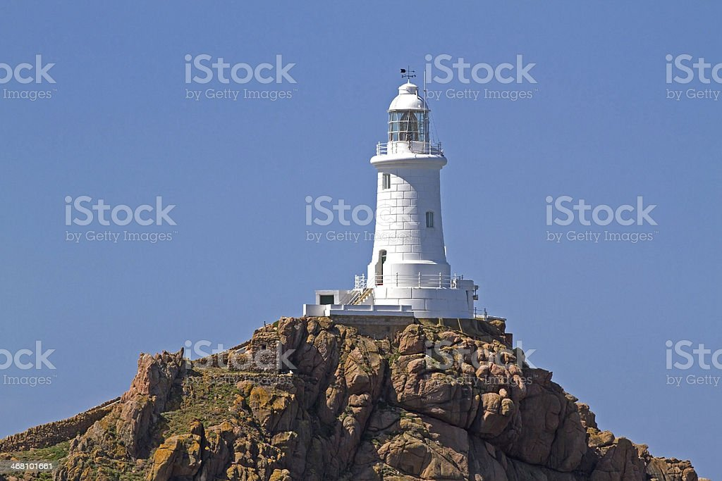 Le Corbiere Lighthouse, Jersey, UK stock photo