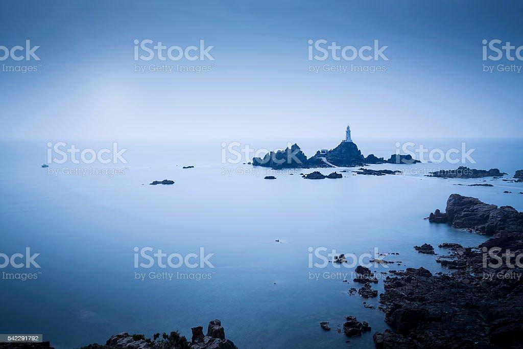Le Corbiere Lighthouse on Jersey island, UK stock photo