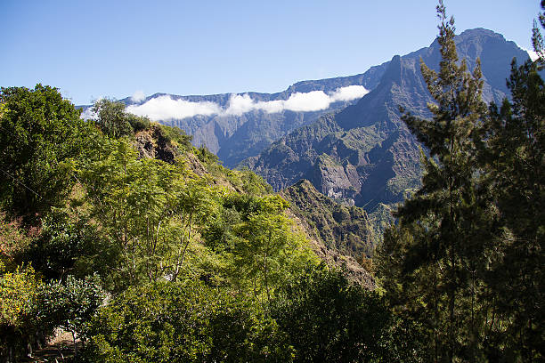 Île de la Réunion, Cilaos, chaine montagneuse, nuage stock photo