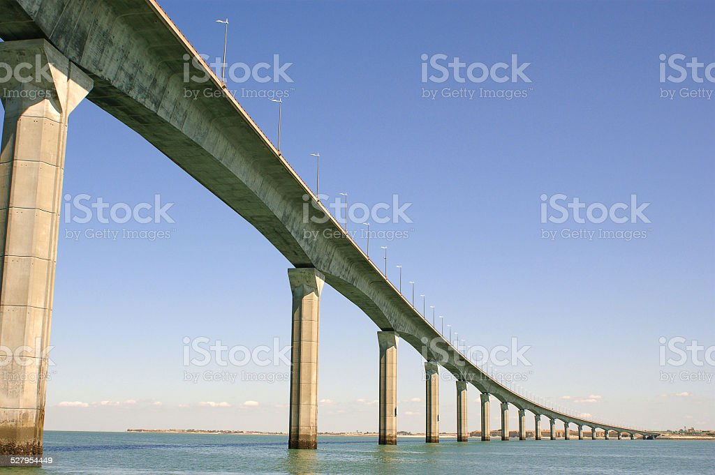 Île de Ré bridge over the water stock photo
