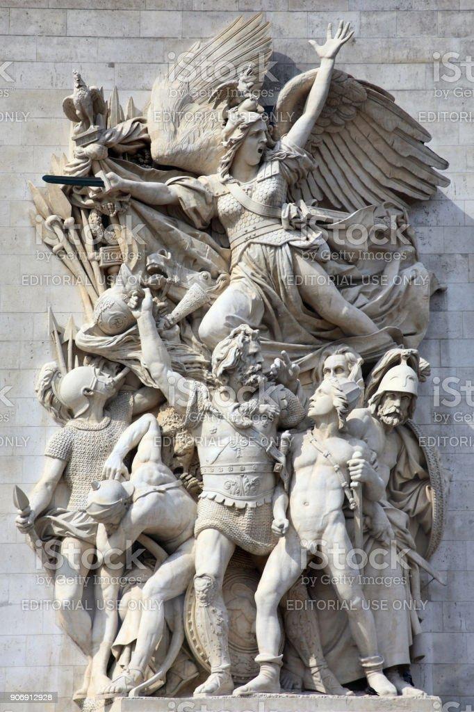 Le Depart, sculpture on the Arc De Triomphe stock photo