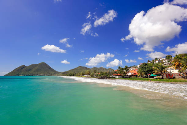 Le Diamant Beach in Martinique French Overseas Department stock photo