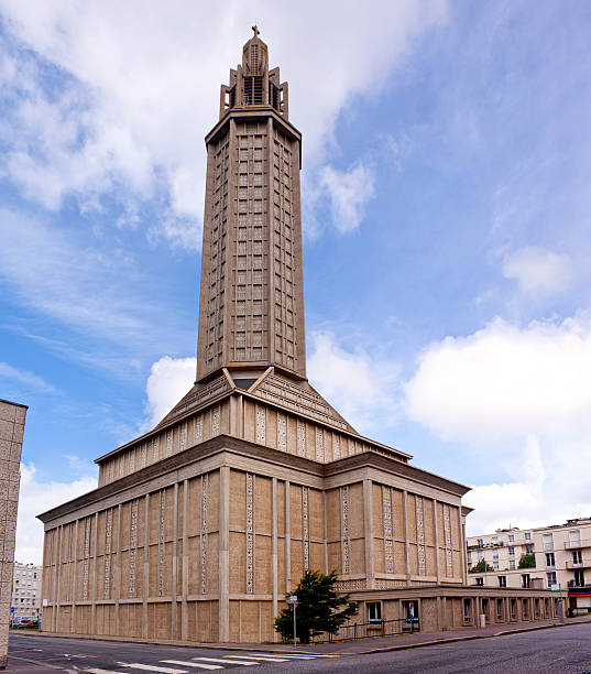 Le Havre Cathedral Le Havre Cathedral in Normandy le havre stock pictures, royalty-free photos & images