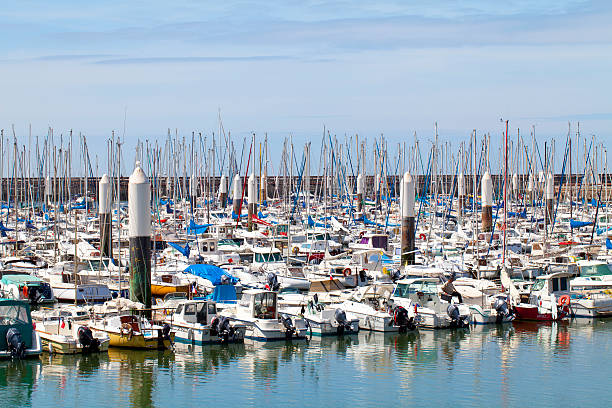 """Le Havre, France """"Le Havre, France - May 17, 2011. The marina (Port de plaisance) of Le Havre jam-packed of motor and sailing boats. View from the Boulevard Clemenceau."""" le havre stock pictures, royalty-free photos & images"""