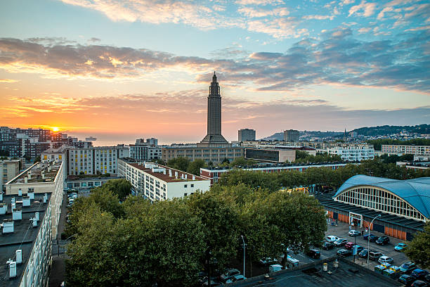 Le Havre sunset Sunset over Le Havre, France le havre stock pictures, royalty-free photos & images