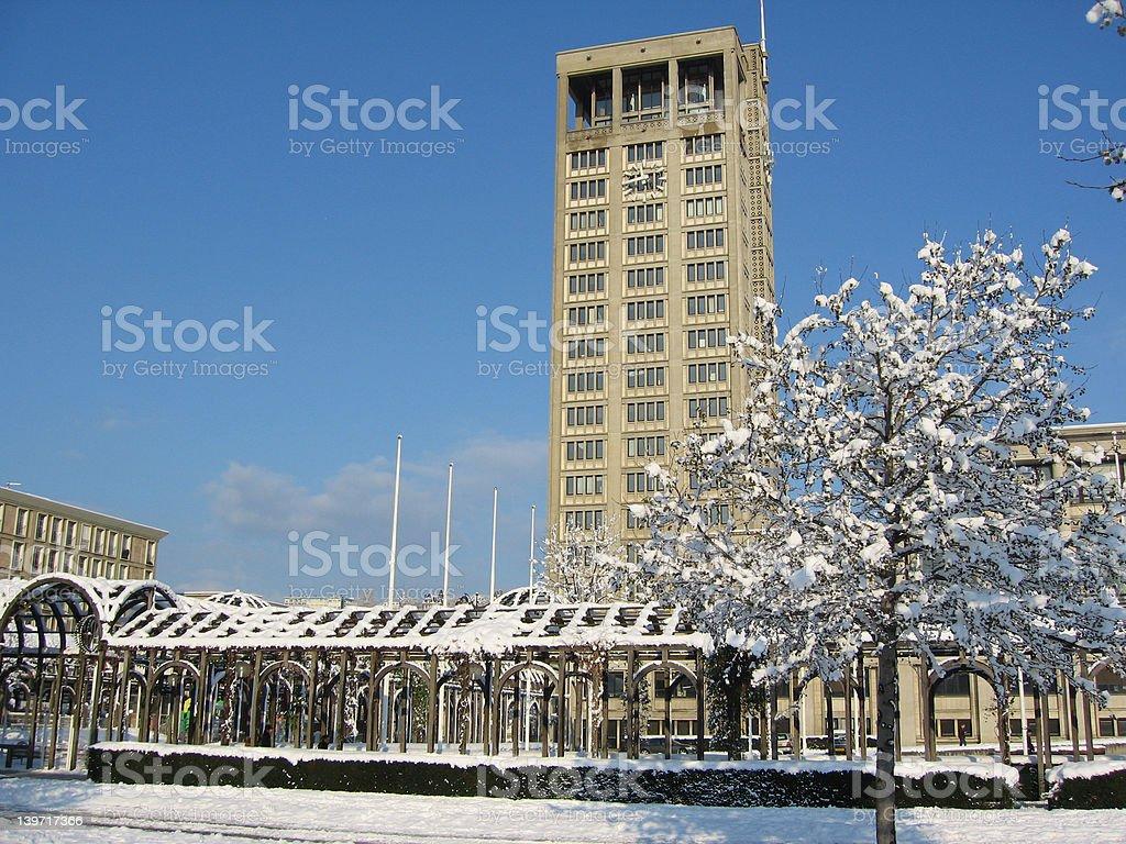 Le havre under snow stock photo