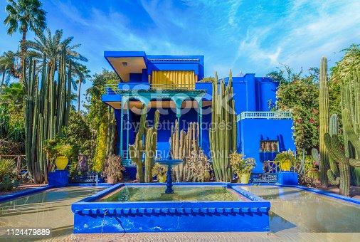 Le Jardin Majorelle, Marrakech, Morocco - November  12, 2017: Le Jardin Majorelle, amazing tropical garden in Marrakech, Morocco.