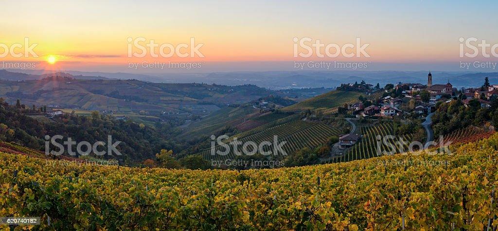 Le Langhe - Treiso and landscape in autumn colors stock photo