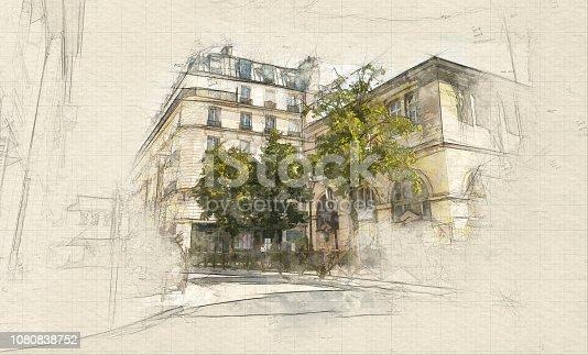 Illustration of Le Marais district in Paris