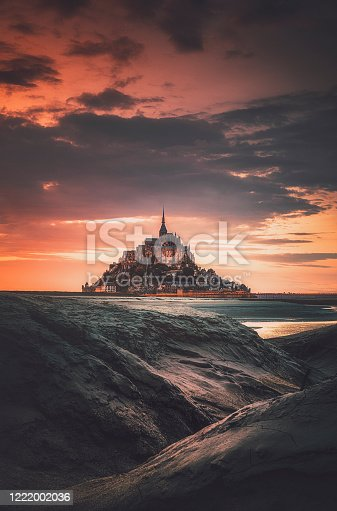 istock Le Mont Saint Michel at sunset in Normandy, France 1222002036