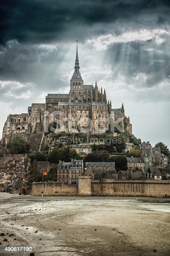 View to Le Mont Saint Michel in Normandy France under the storm.