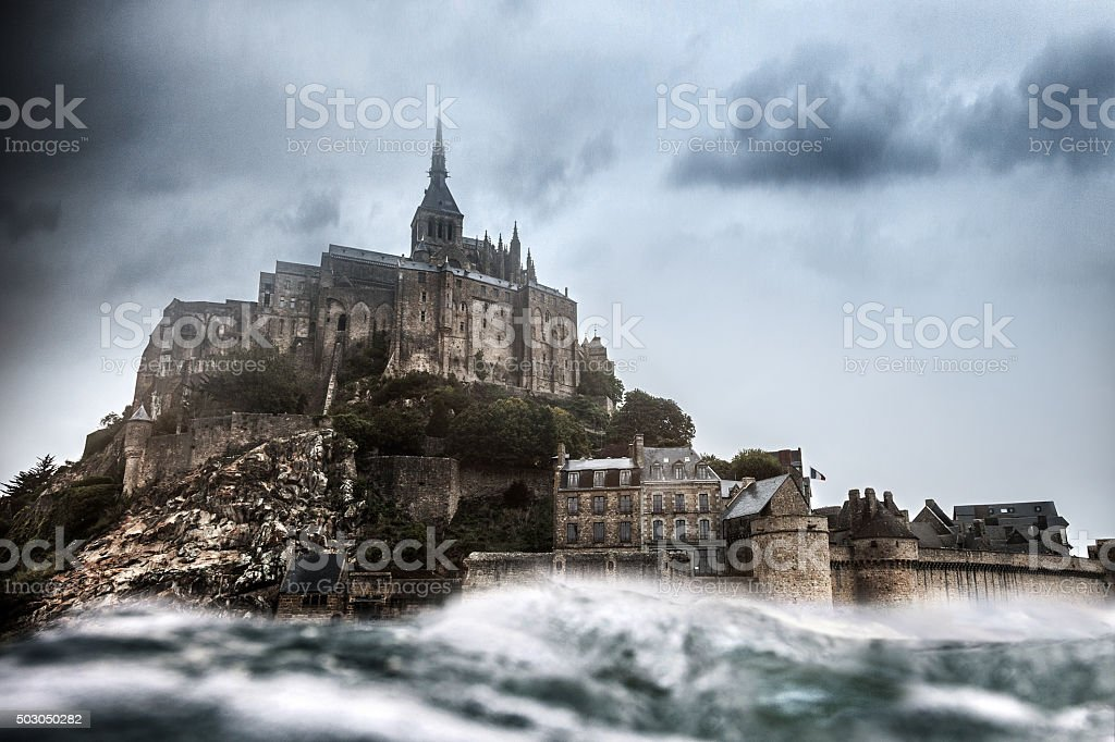Le Mont Saint Michel in Normandy France stock photo