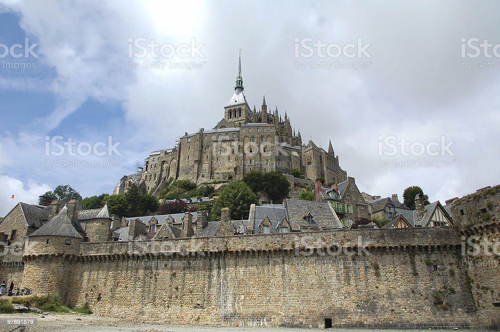 Le Mont-Saint-Michel (Normandy) from below royalty-free stock photo