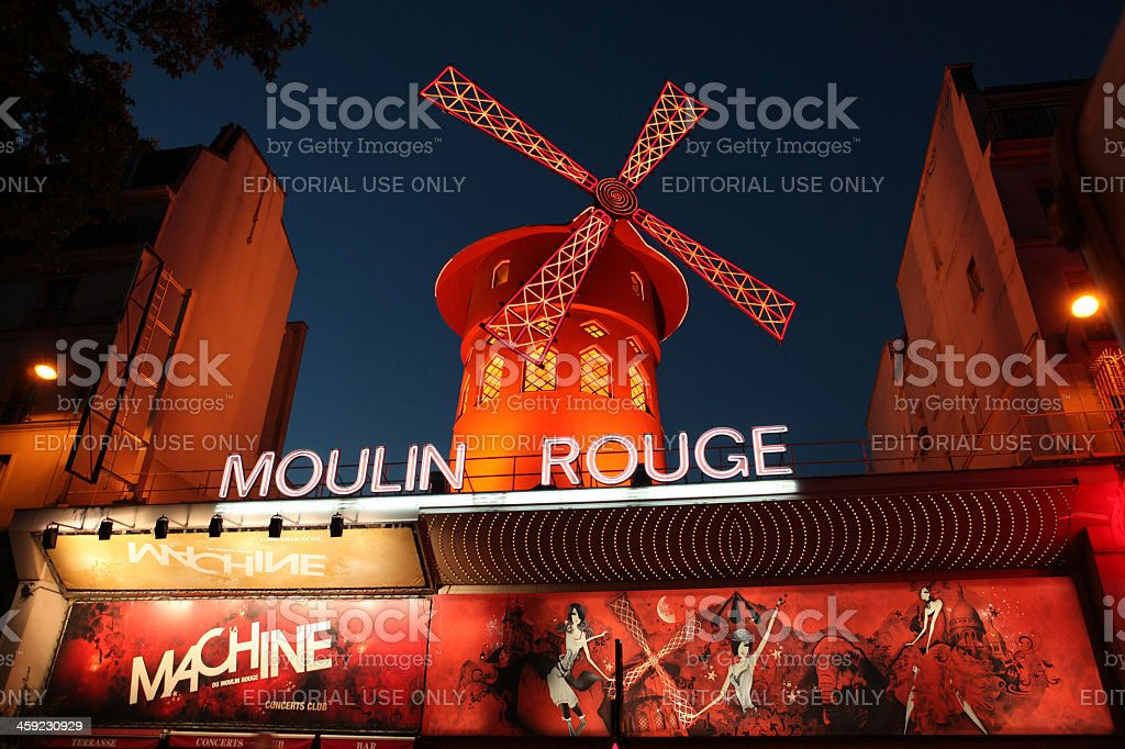 Le Moulin Rouge at the dusk stock photo