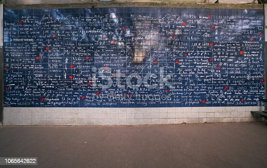 Paris,France-October 17, 2018: Wall in Paris, 'I love you' written in many  international languages.