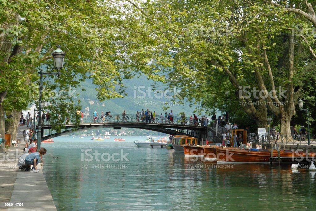 Le pont des Amours à Annecy stock photo