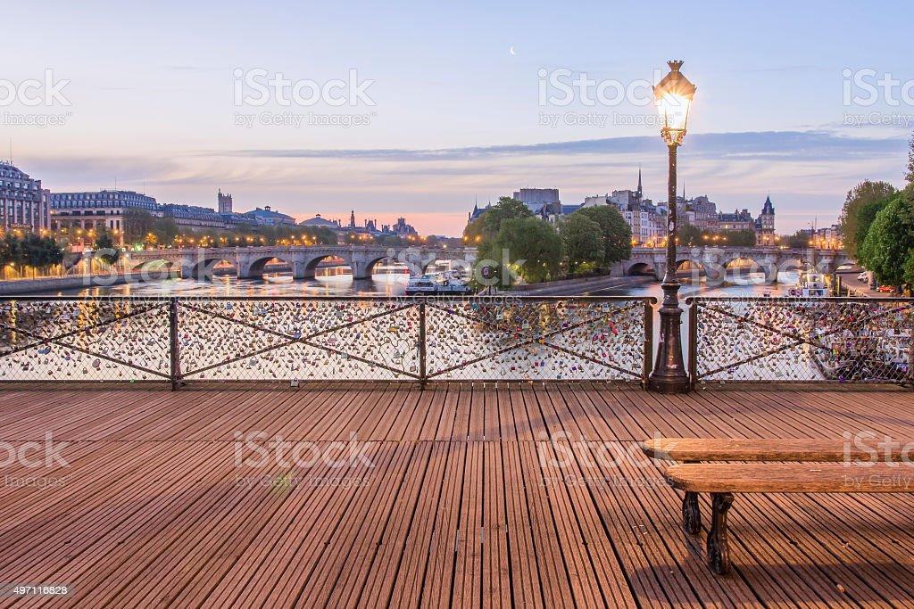 Le Pont des Arts The 'Pont des Arts' with the Ile de la Cité in the Background 2015 Stock Photo