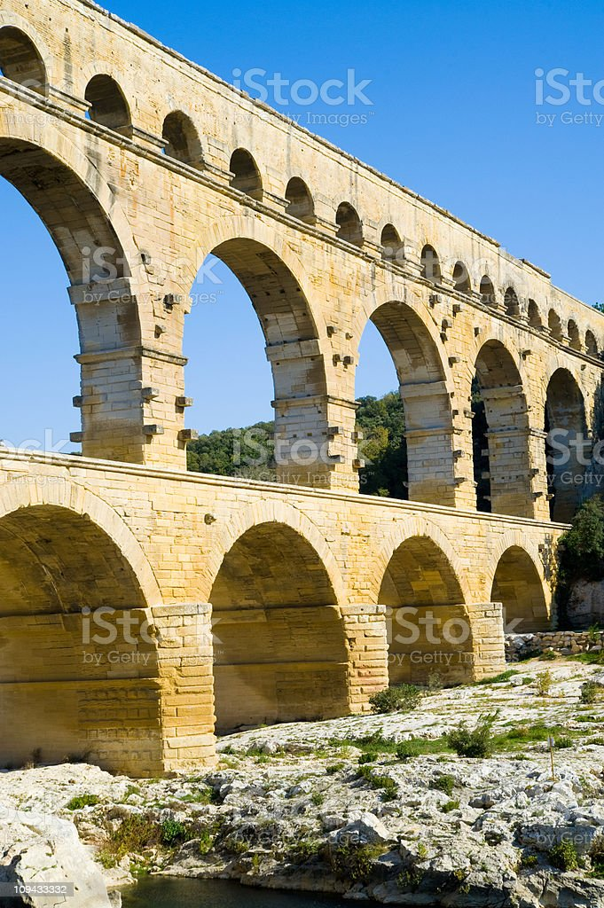 Le Pont du Gard Aqueduct, Nimes, Provence, France stock photo