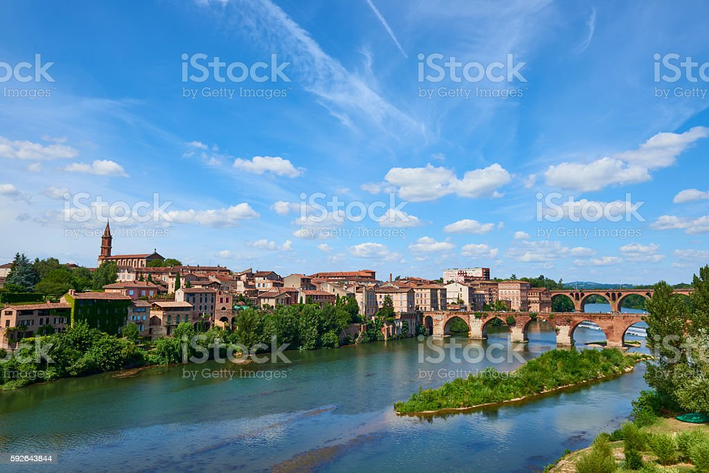 Le Tarn river with bridges across the blue water stock photo