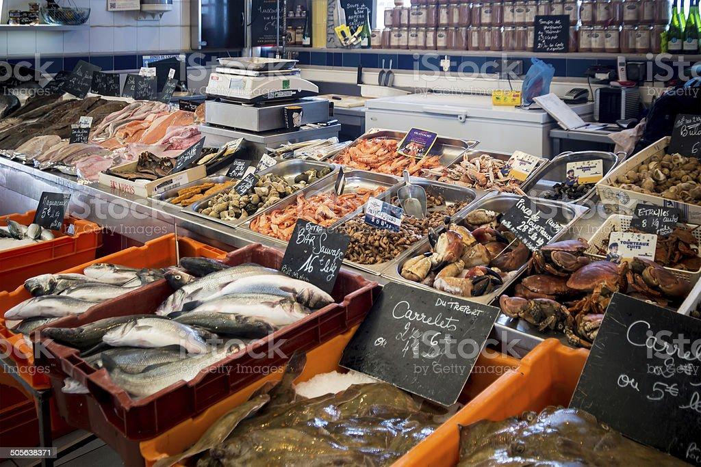 Le Treport fish market stock photo