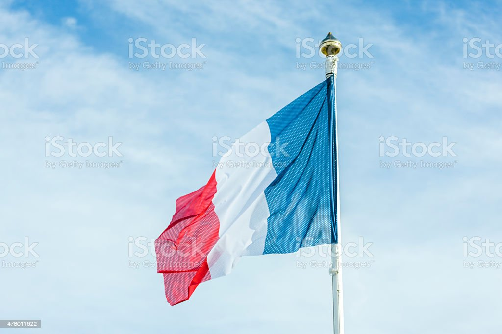 Le Tricolore, French National Flag, sky, France stock photo