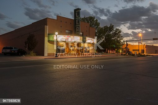 Lovington, New Mexico - April 08,2018:  This evening photograph is of the Lea Movie Theater in  New Mexico.  It is located in the downtown district of the small city of Lovington.