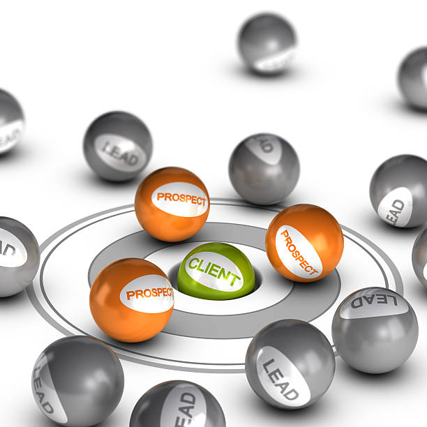 Lead conversion Spheres with text lead, prospect and client. Concept image to illustrate lead conversion. qualification round stock pictures, royalty-free photos & images