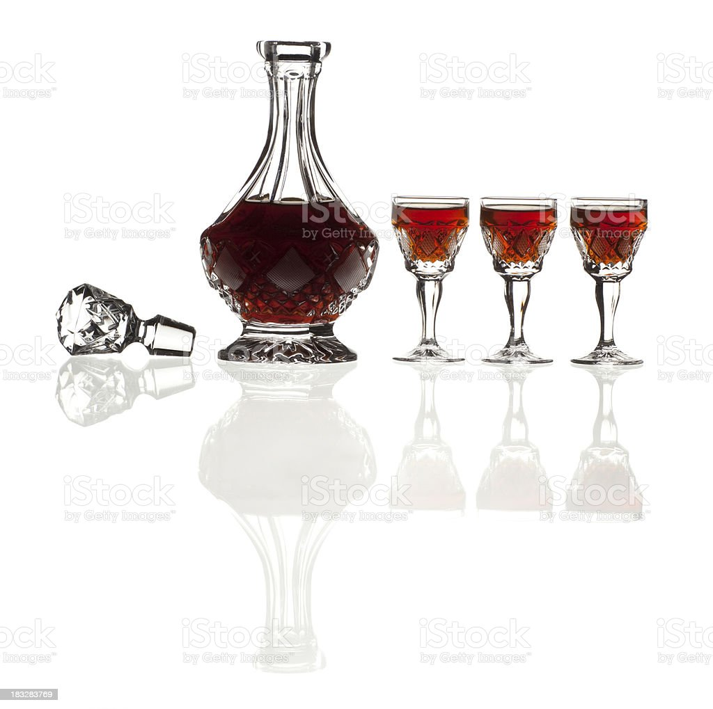 Lead crystal decanter set with cognac. stock photo