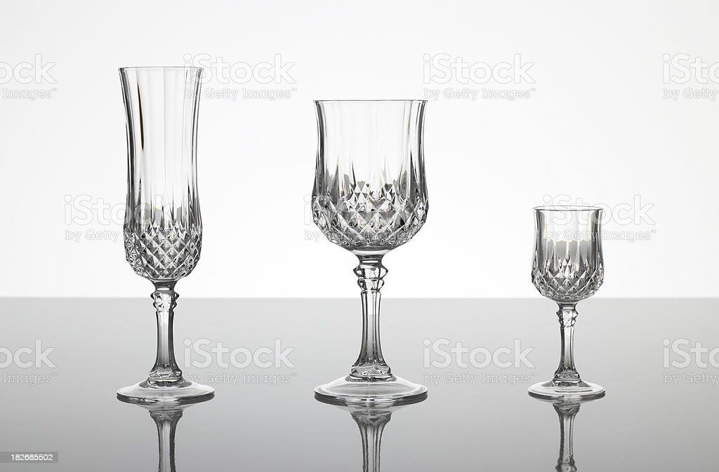 Lead cut glass crystal stemware stock photo