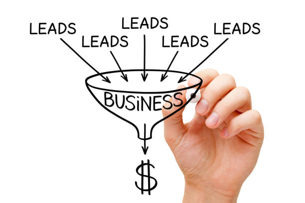 lead generation business sales funnel concept - deaden stock pictures, royalty-free photos & images