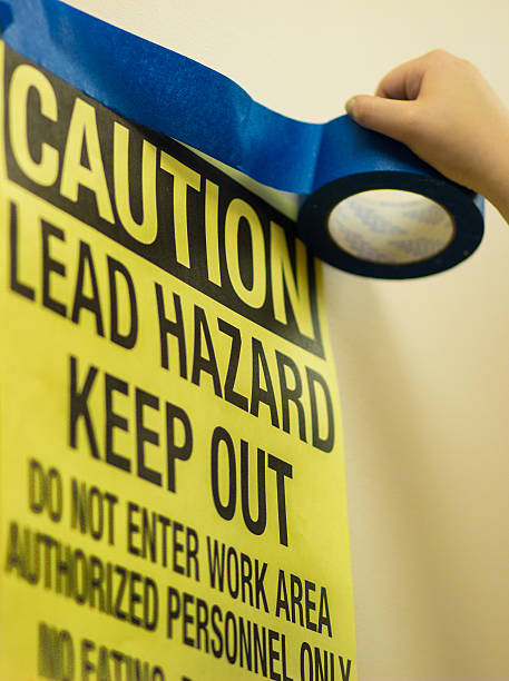 lead paint hazard warning - deaden stock pictures, royalty-free photos & images