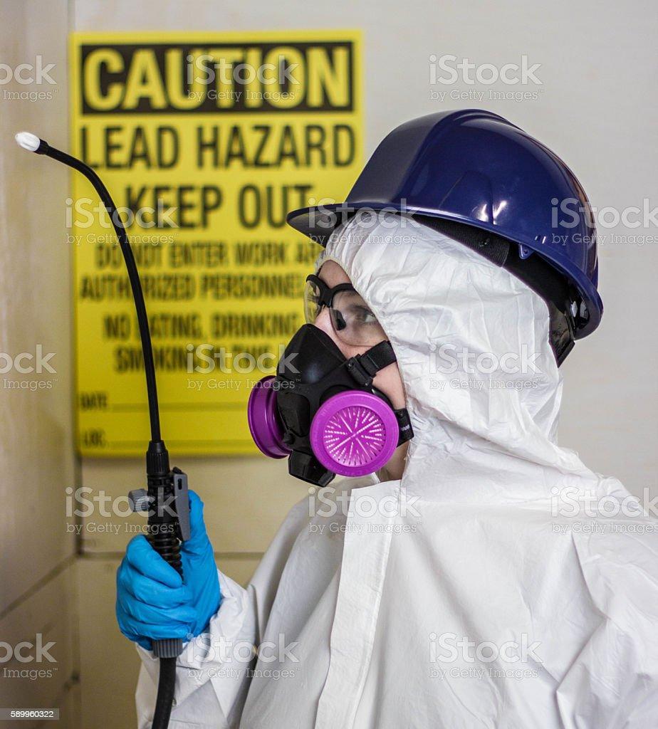 Lead Paint Remediation Abatement Worker stock photo