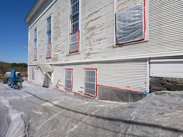 lead paint removal at building - deaden stock pictures, royalty-free photos & images
