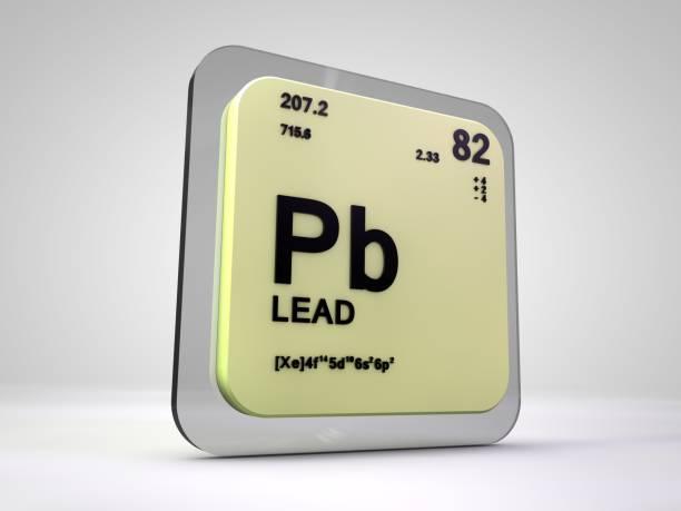 conduire le rendu 3d du tableau périodique des éléments chimiques - pd- - plomb en métal photos et images de collection
