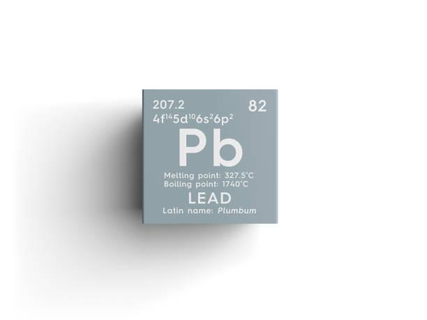 리드입니다. Plumbum입니다. 후 금속 전환. 멘델레예프의 주기율표의 화학 요소입니다. 스톡 사진