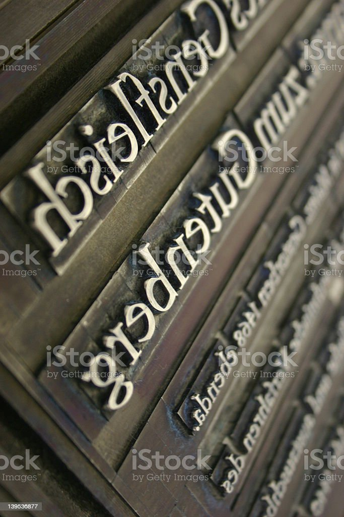 Lead printing - Gutenberg royalty-free stock photo