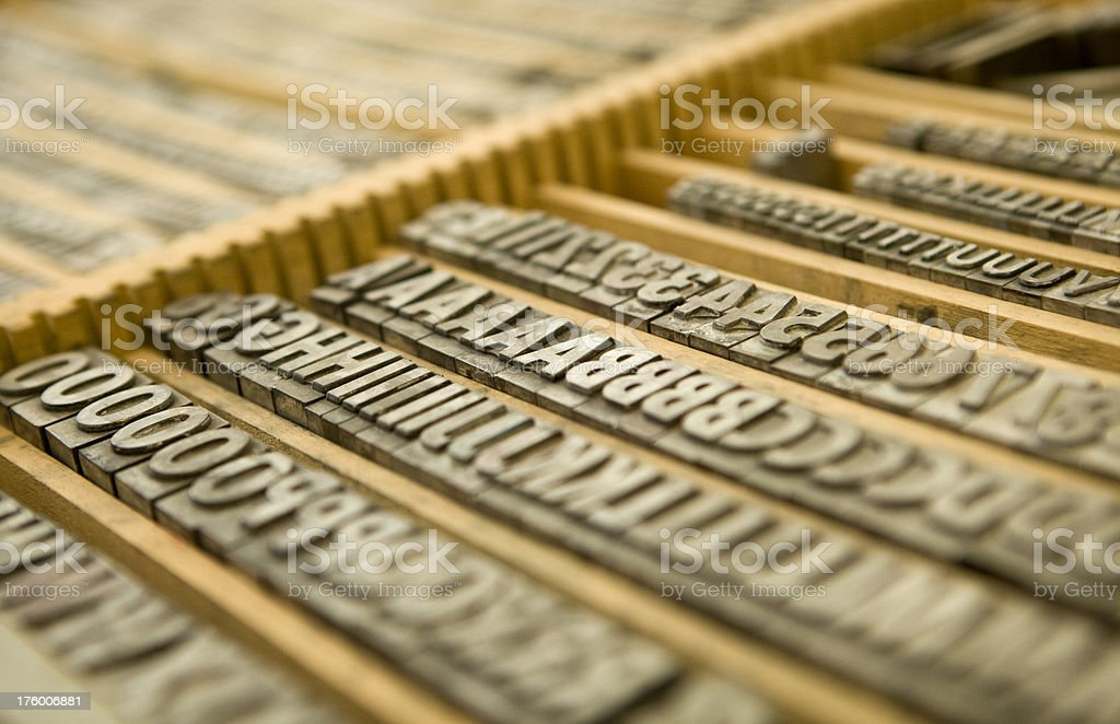 Lead Printing Type in Tray royalty-free stock photo