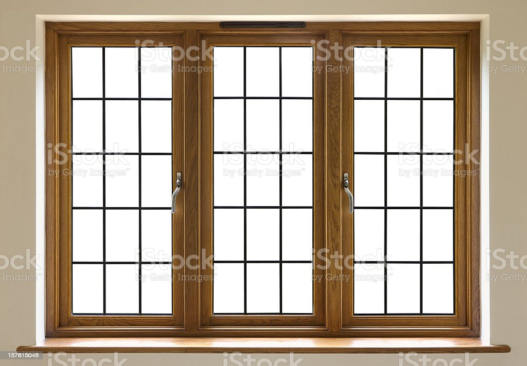 leaded glass window (cut out) royalty-free stock photo