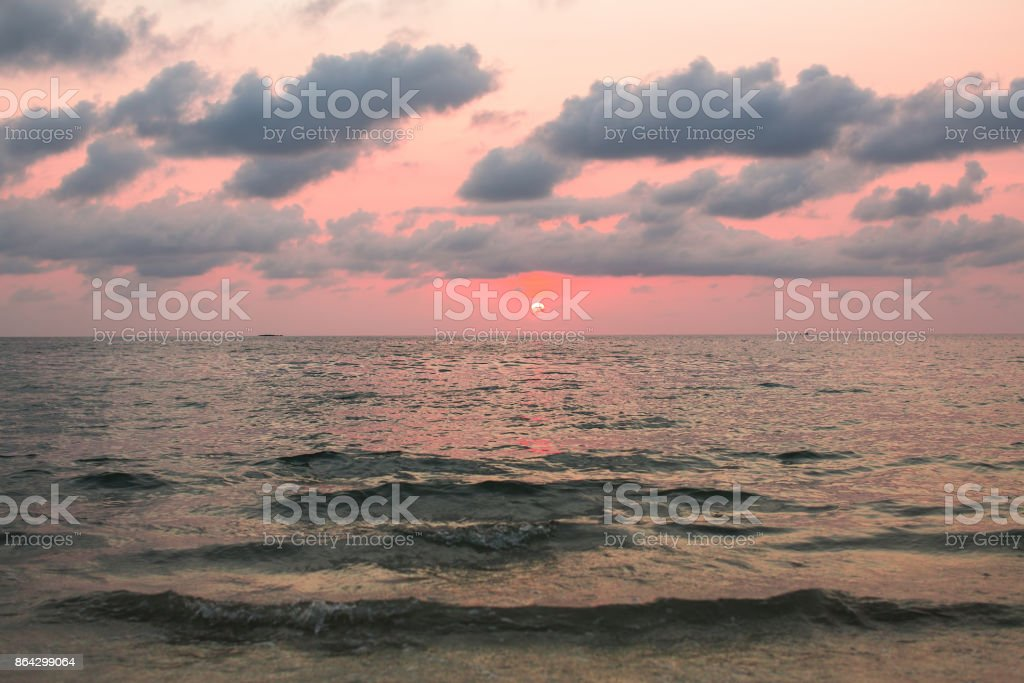 Leaden sunset in cloudly sky Aegean sea. royalty-free stock photo